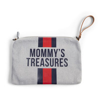 MOMMY CLUTCH CANVAS GREY STRIPES RED/BLUE